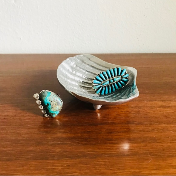 Mexican pewter seashell ring dish